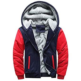 Sunward Coat for Men,Mens Hoodie Winter Warm Fleece Zipper Sweater Jacket Outwear Coat Tops Blouses