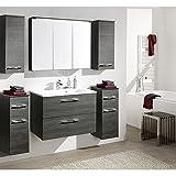 Komplett Badezimmermöbel Set ● Graphit Struktur ● Badmöbel: Waschtisch mit Unterschrank ● Spiegelschrank mit LED-Beleuchtung ● 2 Unterschränke ● 2 Hängeschränke