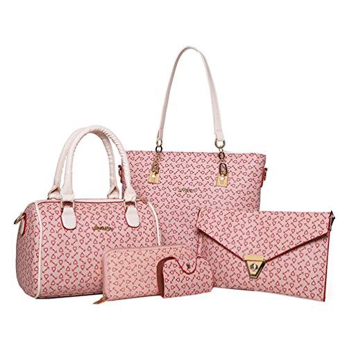 Vbiger Donne 5-in-1 Borsa a tracolla in pelle PU Elegante borsa a tracolla Borsetta casual Borse Tote alla moda (caffè) Rosa