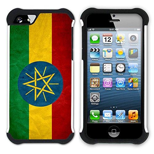 Graphic4You Vintage Uralt Flagge Von Senegal Senegalesisch Design Hart + Weiche Kratzfeste Hülle Case Schale Tasche Schutzhülle für Apple iPhone SE / 5 / 5S Äthiopien Äthiopier