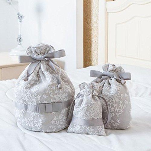 L atsain 3SET Reise-tasche mit Blumen-Stickerei, Seil-Tasche Kosmetik Sundries Unterwäsche, mit tragbarer Reise-Organizer, silberfarben