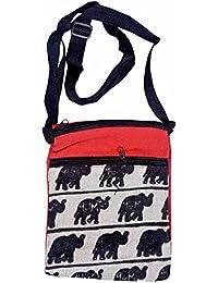 Shopolics Red And Black Elephant Print Sling Bag