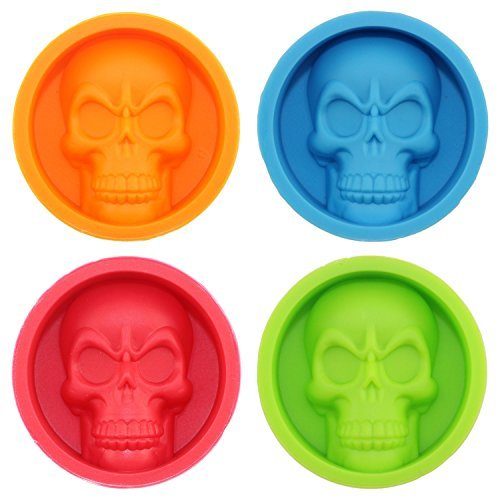 mujiang 4Farben Silikon Halloween Skelett Totenkopf Köpfe Chocolate Candy Kuchen Formen 4Stück