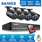 SANNCE 8CH 1080P 5-in-1 AHD/TVI/CVI/CVBS/IP DVR Security Camera System w/ 4 Indoor/ Outdoor
