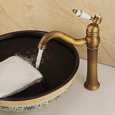 QNQA antike plattform wasserhahn, keramik von hand aufgezogen, ein loch mit heißen und kalten waschbecken, europäischen stil bronze retro - (Land Badezimmer-hahn-)