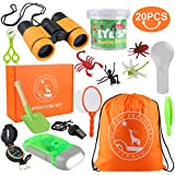 GTPHOM Outdoor Explorer Kit Gifts Toys - 20 Pieces Birthday Present for 3-10 Years Old Boys Girls Adventure STEM Backpacking Compass Binocular Camping Bug Catcher Hiking Pretend Play Fun for Kids