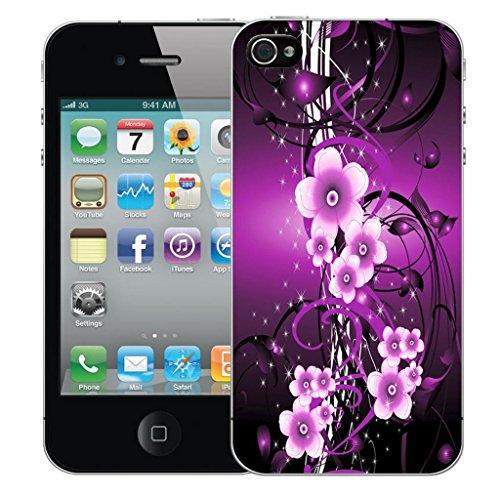 Nouveau iPhone 4s clip on Dur Coque couverture case cover Pare-chocs - violet lovebird owls Motif avec Stylet purple flower vine
