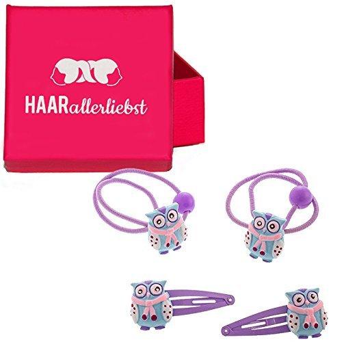 HAARallerliebst 4 Teiliges Haarspangen Haarclips und Haargummi Set mit handbemalten Winter Eulen...