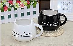 Idea Regalo - Monicaxin 2 Pz Deliziosa tazza di Ceramica a forma di grazioso Gatto Bianchi e neri per Caffè e Latte Tazza regalo perfetta per Natale e Compleanno Tazza di Ceramica 300ml.(cat/IT)