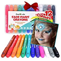 XL Face Paint Crayons Kit, 12 Washable Non-Toxic Chunky Fun Bright Colour Body Art Painting Sticks. Easy On Water-Based Long Lasting Twistable Design Ideal for Kids Christmas Birthdays Parties