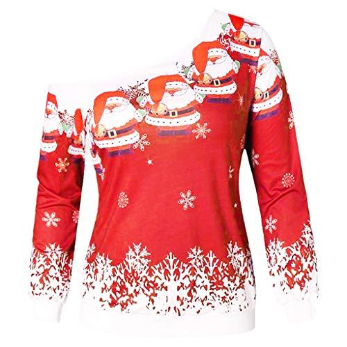 SEWORLD Heißer Einzigartiges Design Mode Damen Frauen Frohe Weihnachten Schneeflocke Gedruckt Tops Cowl Neck Casual Sweatshirt Bluse(X4-rot,EU-42/CN-2XL)