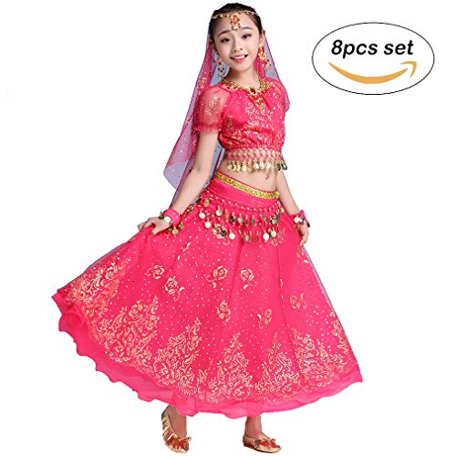 htanz Kleid Bollywood Indian Folk Kids Arabian Performance Kostüm Karneval Outfit (105-130cm/41-51in, Rose-Rot) ()