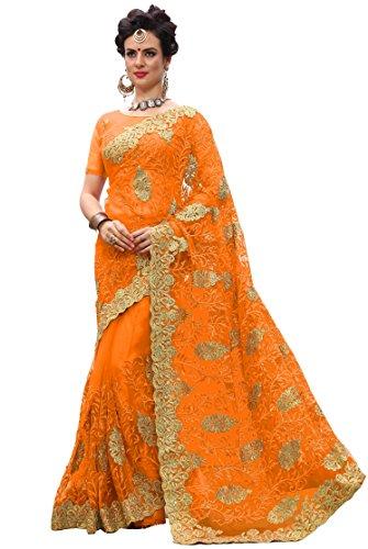 Nivah Fashion K705_P Damen Georgette Bestickte Saree mit Bluse Gr. One size, Orange -