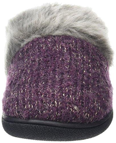 Dearfoams - Gold Accent Knit Clog With Memory Foam, Pantofole Donna Viola (Aubergine 00765)