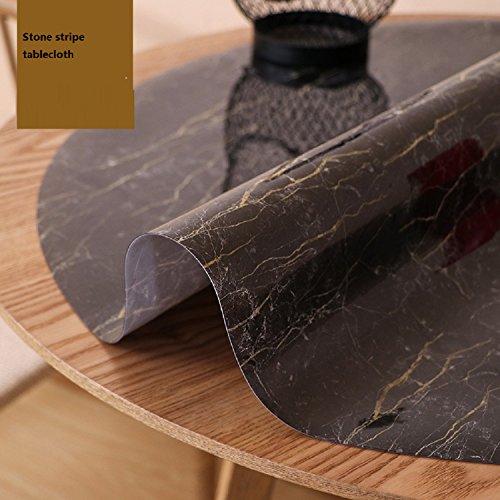 Runde Glas-marmor (WAYMX Moderne Runde Tischdecke Wasserdichte Anti-Hot pvc Weichem Glas Tischset Runde tischdecke Marmor Schwarz Tischdecken, diameter 80cm)