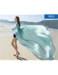 Bufanda Bufanda Bufanda de verano sobre doble uso All-Match color crema solar una gran toalla de playa,azul turquesa