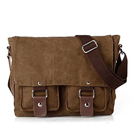 Yingbo Vintage Canvas Schultertasche Umhängetasche Messenger Bag für Uni Arbeit freizeit und Outdoor Sport Männer und Frauen (Kaffee) (Vintage Bag Birkin)
