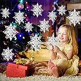 Queta 24 Stück Hängende Schneeflocke Ornamente Set 3D Papier Schneeflocken Girlande Deko für Zuhause Weihnachtsfeiertag Party Geburtstag Winter Dekorationen