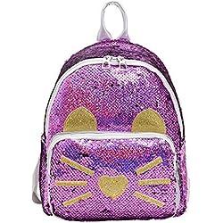 Mochilas para niños con lentejuelas Mochila con purpurina Mochila con purpurina Mochila colorida Ideal regalo de cumpleaños de Navidad para niños Mujer niña dama mochila con purpurina(Morado)