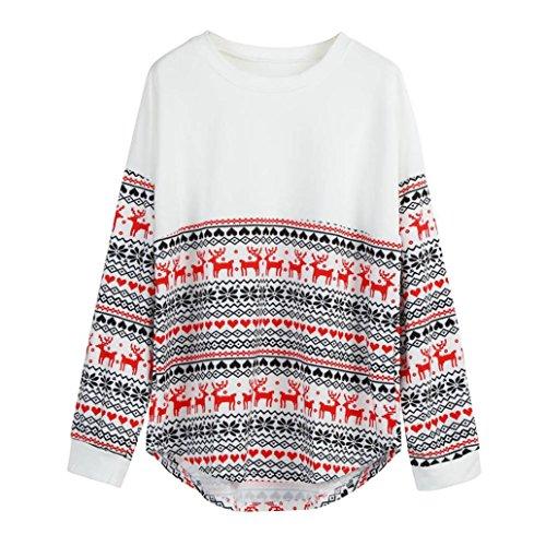 JiaMeng Damen Weihnachten Sweatshirt, Frohe Weihnachten Frauen Langarm Lose Tops Bluse T-Shirt Hoodies (Weiß, XXL/3XL)