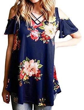 Ai.Moichien Mujeres Hombro Frio Sheer Algodón Criss Cross V cuello Flor Printed manga corta Casual camisa de verano...