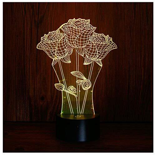 Rose Bouquet LED Nachtlicht, Remote Touch Illusion Mini Tischlampe für Kinder Geburtstagsgeschenk Schlafzimmer Art Deco Skulptur Licht, 7 Farbänderungen -
