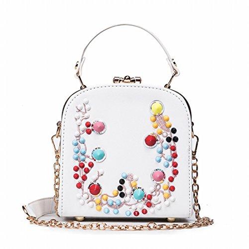 Fashion Tasche Schlug Farbe Liu Nagelhandtaschen-Schulterbeutel-Freizeitkette Kuriertasche Weiß