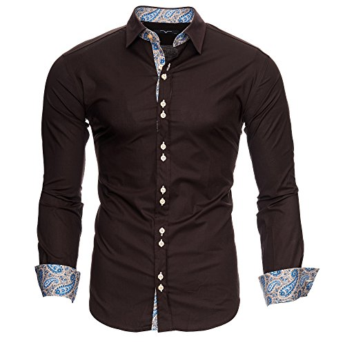 Kayhan Herren Hemd Royal Paisley Braun (XL) (Braun Paisley)