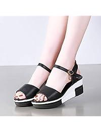 OME&QIUMEI Le Bureau De L'Été Chaussures Sandales Pantoufles Filles D'Été Portant Un Noir 36 YwKUjrF8d