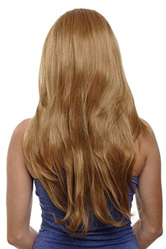 WIG ME UP - Clip-in Haarteil mit 7 Klammern, 3/4 Perücke Blond Erdbeerblond 60 cm, glatte Haare, Haarverlängerung, Wig H9505-27