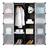 LANGRIA 16-Cube DIY Wardrobe Portable Cupboard Cabinet, Organiser Storage System with Doors, Hanging Rod, Strong Construction for Clothes, Shoes, Accessories, Curly Floral Print, Black and White - LANGRIA - amazon.co.uk