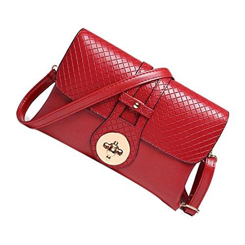 Messaggero Borse - SODIAL(R)Materiale PU coccodrillo del messaggero delle donne sacchetti delle signore di Crossbody Borse per le donne casuale borsa frizione (Nero - struttura di pietra) Rosso - trama intrecciata