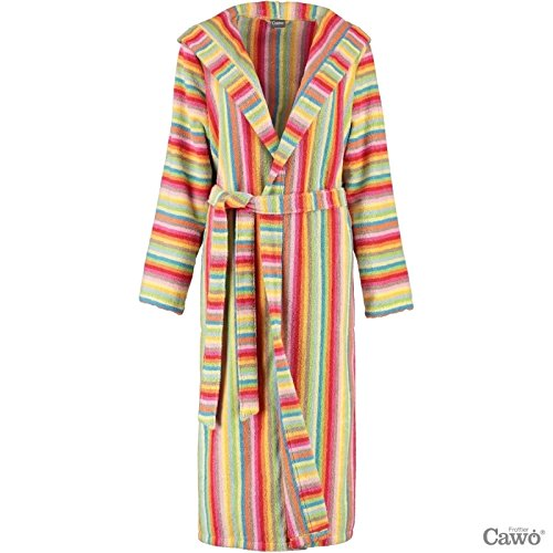 Cawoe Women Bathrobe with hood Lifestyle 7081 colorful stripes - Multi-Color: : Small