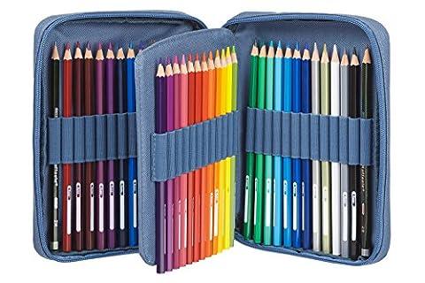 Wyvern Vouivre Art Coffret Azure Trousse de 48crayons de couleur à base d'huile de qualité supérieure avec boîte de rangement + 2DVD de formation au dessin (français non garanti)–Idéal pour les débutants et les plus
