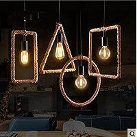 In ottone antico lampadario,luci a soffitto per soggiorno lampadario,Corda Lampada candeliere arti creative circle geometrica square Ristorante Bar Caffetteria ferro battuto