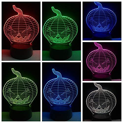 ag Nachtlicht Led Nachtlicht 3D Kinder Christmas Gifts Halloween Kürbis Geformt 3D-Lichtbeleuchtung Led Usb Stimmung Nachtlicht Multicolor Touch ()