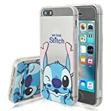 VCOMP Coque silicone TPU Transparente Ultra-Fine Dessin animé jolie pour Apple iPhone 5/ 5S/ SE - Stitch