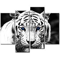4 paneles decorativos blancos y negros, pintura de pared, diseño tigre de ojos azules. Pintura al óleo de animal para el hogar. Decoración moderna para la cocina.