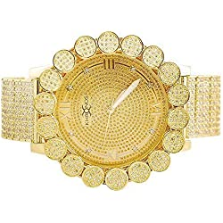 Herren Khronos Gold Ton Icy Lab Diamant Cluster Lünette Uhr mit Full Iced Out Band