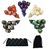 Picture Of Smartdealspro 5 x 7-Die Series 5 Colors Symphony Dungeons and Dragons DND RPG MTG Table Games Dice with Free Pouches