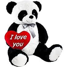 BRUBAKER Peluche gigante Panda Osito 100 cm con cinta I Love You corazón de