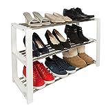 Woodluv Modernes Schuhregal, 3 Etagen, Organizer, Ständer, Weiß