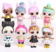 8pcs/Set LOL Dolls Baby bebek Action Figure Toys Small Princess wear Clothes Shoes Drink Water Kids Girl Brith