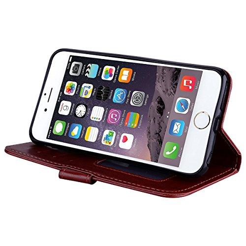 Cover iPhone 6S 6 Pelle Unicorno, Unicorno Portachiavi Peluche, E-Unicorn Cover Custodia Apple iPhone 6S 6 Pelle Unicorno Modello Brillantini Glitter Portafoglio Blu PU + TPU Silicone Morbido Bumper C Marrone