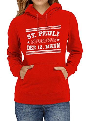 Shirt Happenz St. Pauli #1 Premium Hoodie | Fussball | Fan-Trikot | #Jeden-Verdammten-Samstag | Frauen | Kapuzenpullover, Farbe:Rot;Größe:XL (Shirt Spieltag)