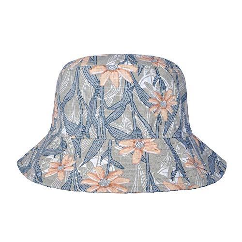 ZLYC Unisex Blumen Pflanze Regenwald-Druck Leinwand Sonnenhut Strandhut Fishermütze (Orange Blüten) -
