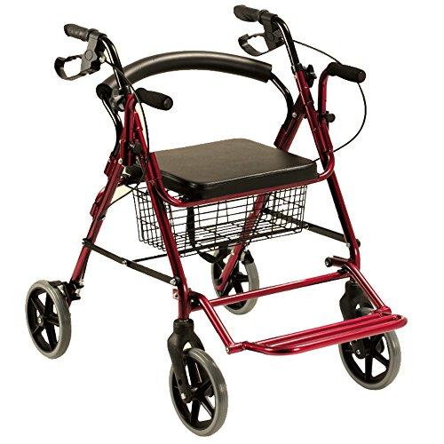 Queraltó Andador Rollator y Silla de Ruedas para Ancianos 2 en 1, Rojo
