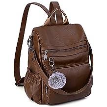 be2b3c4d0a1 UTO - Bolso Mochila de Mujer Cuero Sintético Bolso Bandolera Bolso Escolar  con Bolsillos Laterales con
