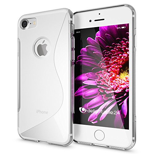 NALIA Handyhülle kompatibel mit iPhone 8/7, Ultra-Slim Silikon Case Cover, Dünne Crystal Schutz-Hülle Etui Handy-Tasche Back-Cover Bumper, TPU Schale Smart-Phone Gummi-Hülle - S-Line Transparent -