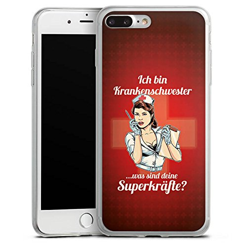 Apple iPhone 8 Plus Slim Case Silikon Hülle Schutzhülle Krankenschwester Spruch Nurse Silikon Slim Case transparent